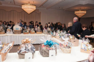 raffle baskets sit atop tables